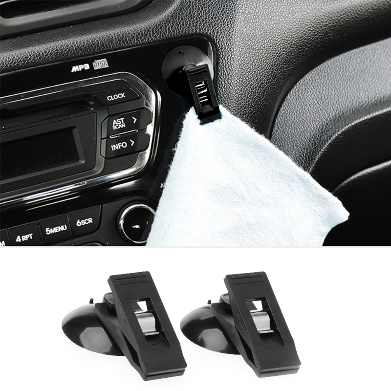QILEJVS 1 Pair Universal Car Windshield Parking Card Ticket Holder Clip Organizer w/Suction #1