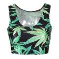New Arrival Women's Summer Tank Top Maple Leaves Pattern Women Tee Vest Short  Bustier