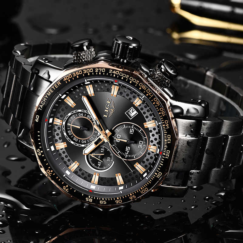 Men Watches LIGE Fashion Stainless Steel Waterproof Chronograph Business Big Dial Quartz Watch Men Date Military WristWatch 2019