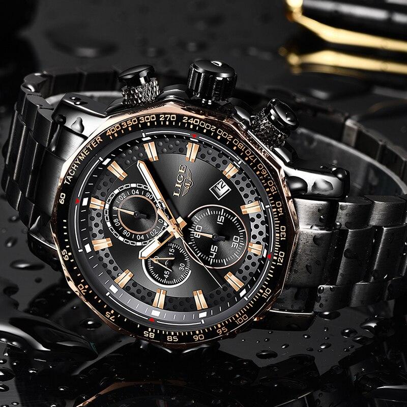 Men Watches LIGE Fashion Stainless Steel Waterproof Chronograph Business Big Dial Quartz Watch Men Date Military WristWatch 2019