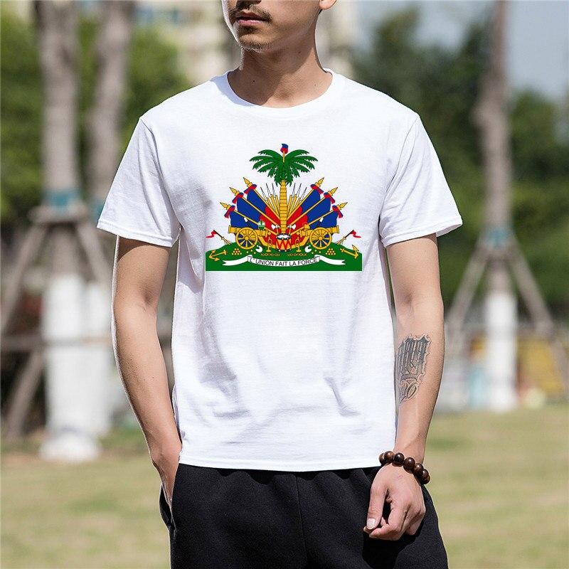 Tops & Tees T-shirts T-shirt Fashion Men Hot Sale Men T Shirt Fashion Haiti Soccers Footballer Sporter Crest Country Family T Shirts