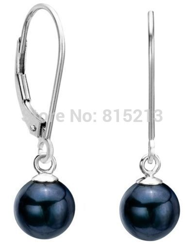 wb00495 charming 9mm natural black AAA+ pearl 14k earrings jewelry