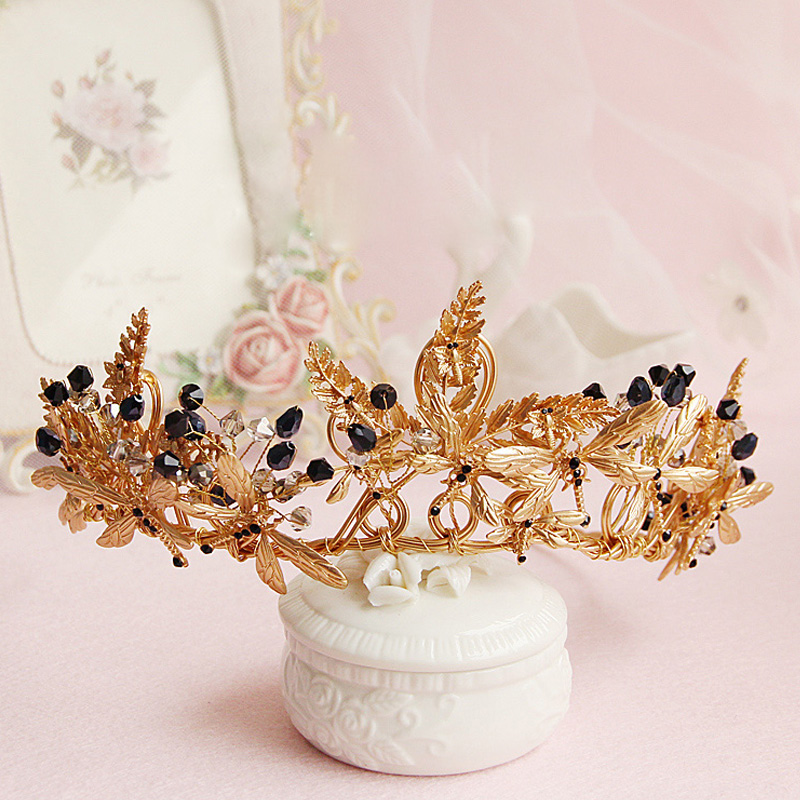 Bridal Hair Crowns: Gold Butterfly Vintage Wedding Tiara Crown Baroque Bridal