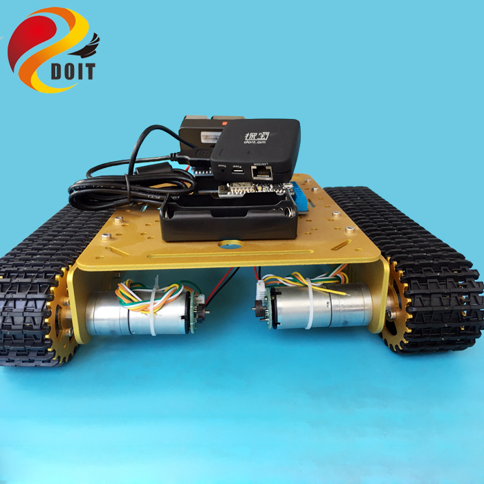 Original DOIT T200 Remote Control WiFi Video diy robot tank chassis Mobile Platform for Arduino Smart Robot with HD Camera toy football cart remote control robot football science model diy scientific experiments for schoolchildren