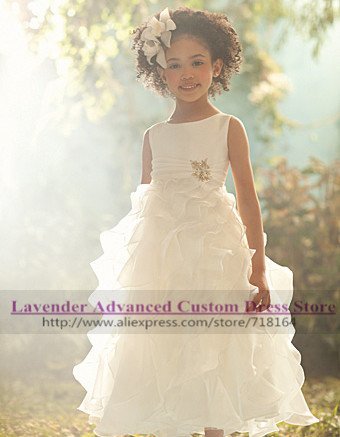 White/ivory/pink organza ball gown custom flower girl dresses weddings toddler pageant fashion new arrive - Lavender Advanced Custom Dress Store store
