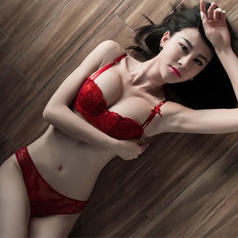 Sexy Lace Half Bra Set Woman Red Plunge Lingerie Set Ultra Thin B C D Cup Lady Underwear Black Brassiere Set
