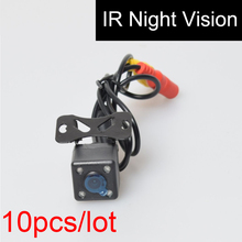 10pcs Car Auto Automotive Reverse Backup Camera 4 Infared Night Vision IR Lights Free 6M / 20FT RCA Video Extension Cable 10PCS