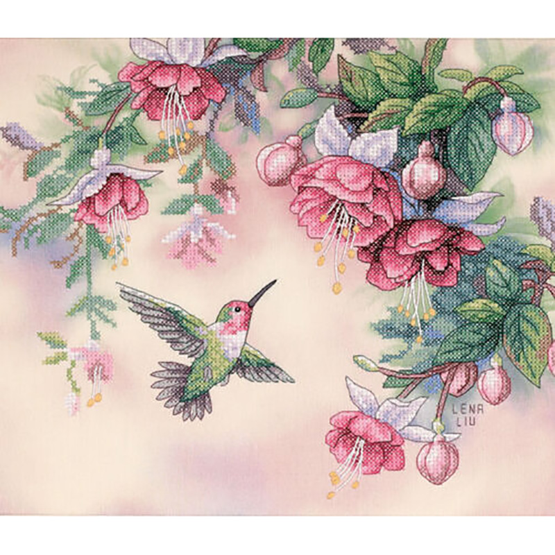 Dimensions Hummingbird & Fuchsias Stamped Cross Stitch Kit-14 Inch X 12 Inch