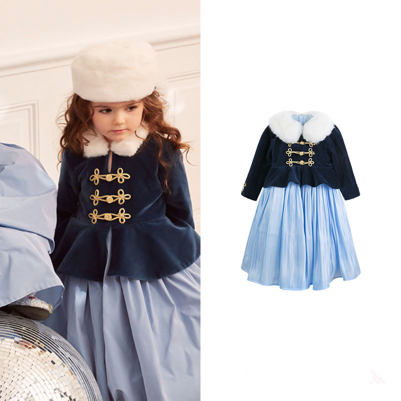 Children's wear Russia Court style Mosaic flowers Side large hem Princess dress patch pocket curved hem belted dress