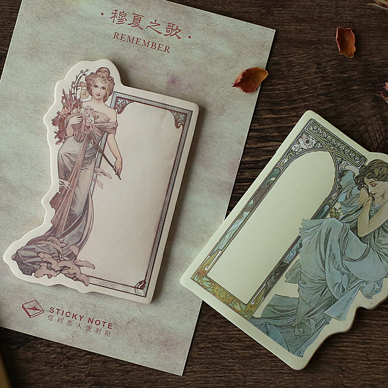 Retro Goddess Weekly Plan Sticky Notes Post Memo Pad Korean Stationery School Supplies Planner Stickers