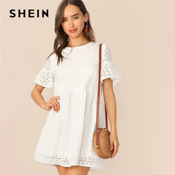 SHEIN Boho White Flounce Short Sleeve Solid Schiffy Straight Summer Lace Dress Women Elegant O-Neck Tunic Shift Cute Dresses