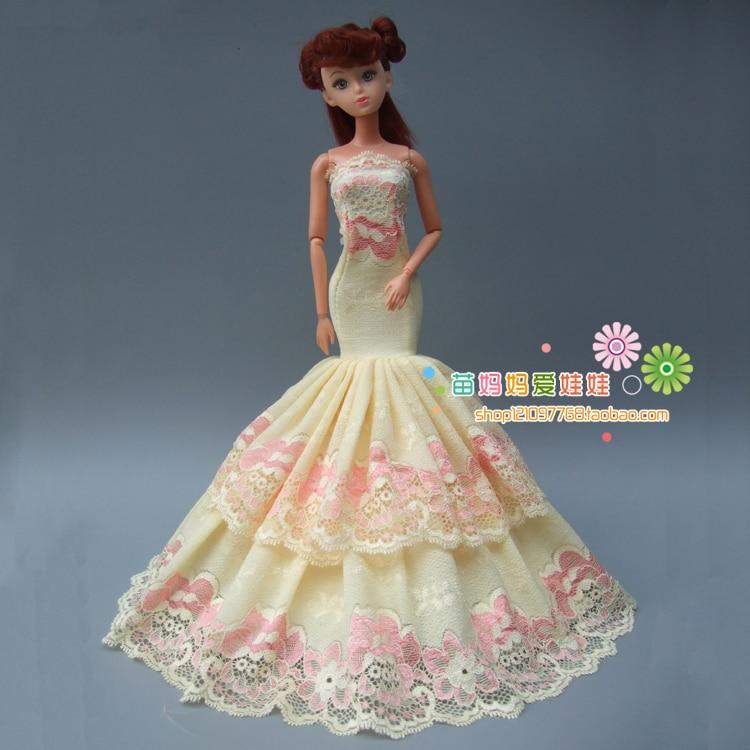 Новое поступление коллекции Роскошная желтая обувь с рыбьим хвостом вечернее платье для куклы Барби для Модные роялти FR кружевное платье в ...
