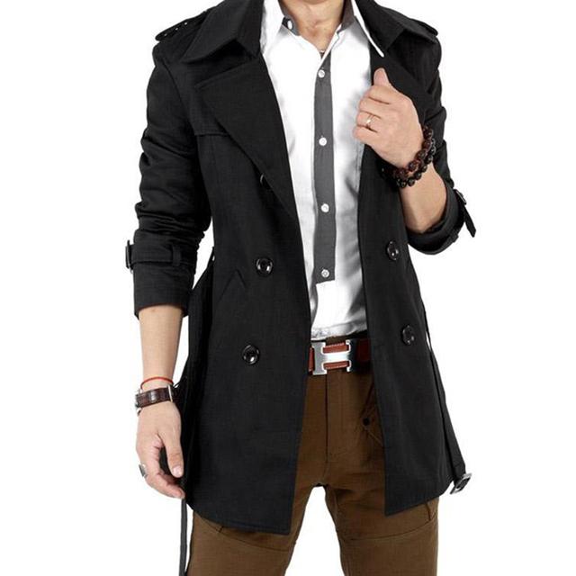 EAS 2016 Otoño Trench Coat Hombres Trinchera Hombres de la Capa Ocasional Prendas de Vestir Exteriores de Doble Botonadura Abrigo Rompevientos Chaqueta de Los Hombres Para Hombre de Trincheras escudo