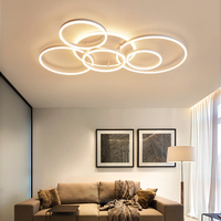 Remote dimming Circle Rings led Chandelier ceiling For living Room Bedroom Study Room light White/Brown Color Modern Chandelier