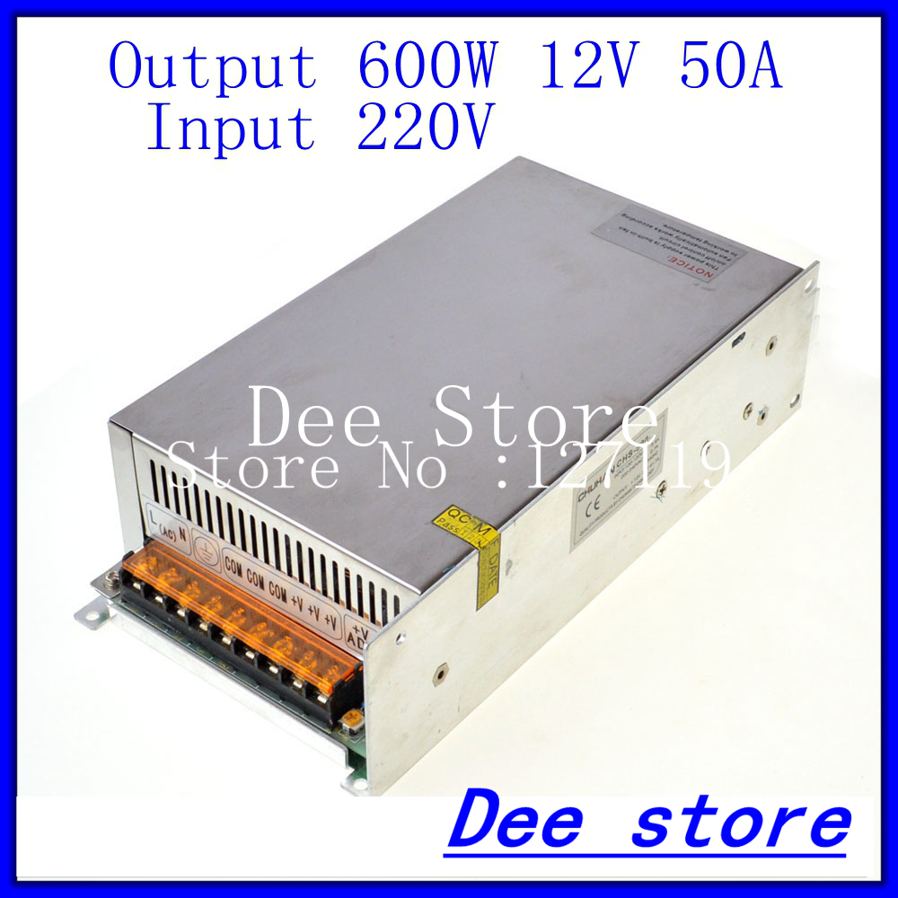 Led driver  600W 12V(10.8V-13.2V) 50A Single Output  ac 220v to dc 12v Switching power supply unit for LED Strip light