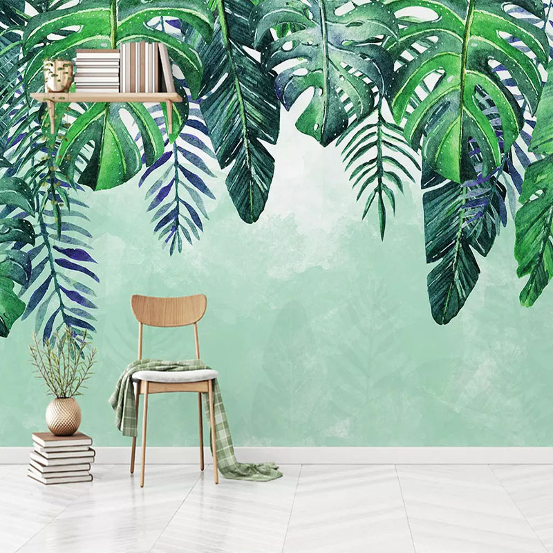 Custom Mural Wallpaper Nordic Hand Painted Tropical Forest Tree Leaves Living Room Sofa TV Background 3D Photo Wall Paper Modern