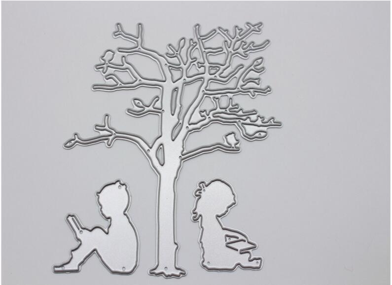 Metal Steel Tree and Kid Cutting Dies Stencils For DIY Scrapbooking Photo Album Embossing Decorative Craft HY018