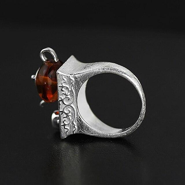 Teapot Amber Handmade Ring2