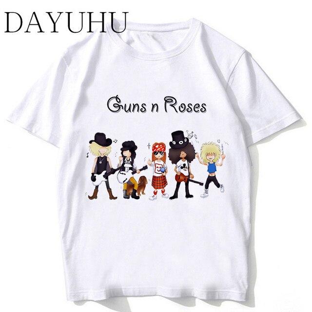 5f92b04a1 Guns N Roses Streetwear T Shirt Men Summer Print T Shirt Boy Short Sleeve  With White Color Fashion Top Tees