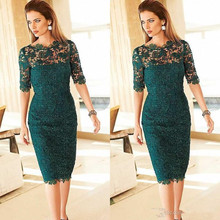 Gorgeous Lace Mother of the Bride Dresses 2019 Sheath Mother's Tea Length Emerald Green Half Sleeves Party vestido de madrinha стоимость