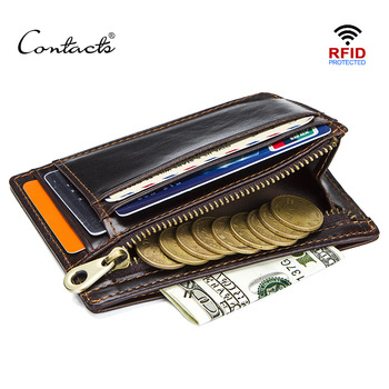 CONTACT'S crazy horse cowhide leather RFID men card wallet mini card holder with coin pocket men's small thin walet slim wallets