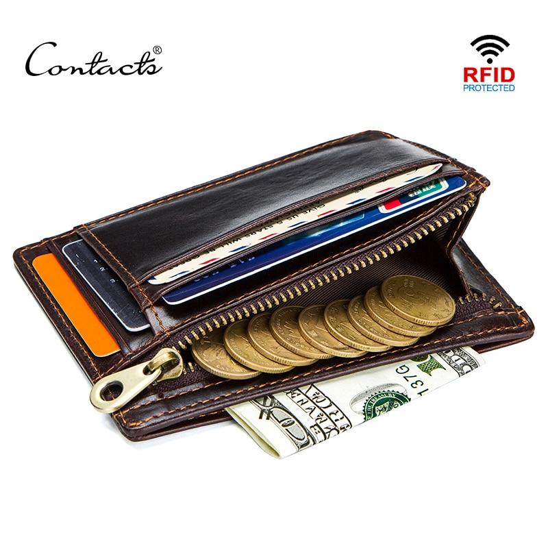 Contact's crazy horse couro rfid carteira de cartão dos homens mini titular do cartão com bolso de moeda pequena fina walet carteiras masculinas