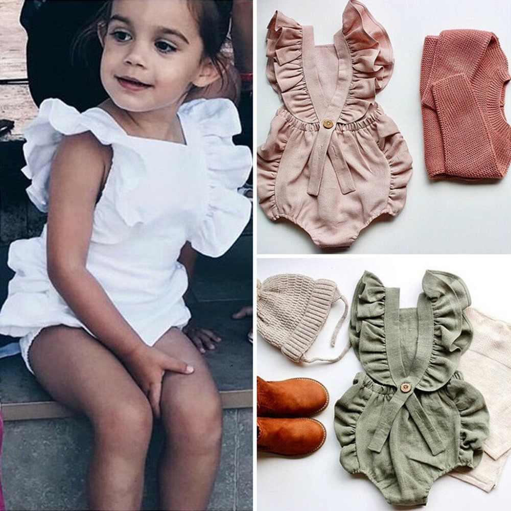 c95ebadb52910 Summer Newborn Baby Boys Girls Ruffle Solid Romper Jumpsuit Clothes Romper  Rompers baby boy girl jumpsuits new born