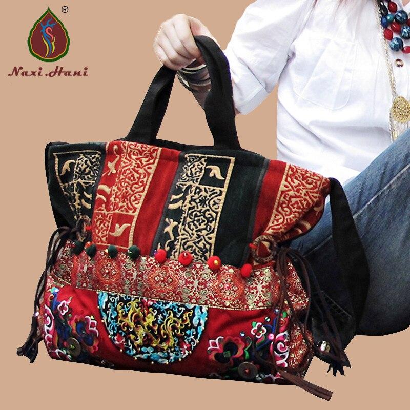 bfdbf7c8f8d3b جديد وصول تايلاند التطريز قماش أنثى حقائب ناشي. هاني العرقية خمر اليدوية  أضاليا الكتف رسول