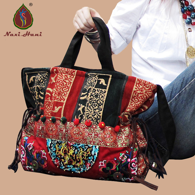 New Arrival Thailand embroidery canvas female handbags Naxi.Hani Ethnic Vintage handmade Pompon Shoulder Messenger bags vintage chinese hmong tribal ethnic thailand indian boho handmade embroidery bell shoulder messenger tote bag sac a dos femme