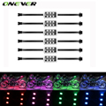 Onever 6PCS RGB Wireless Remote Control LED Car Motorcycle Light Atmosphere Lamp with Brake Light 5050SMD
