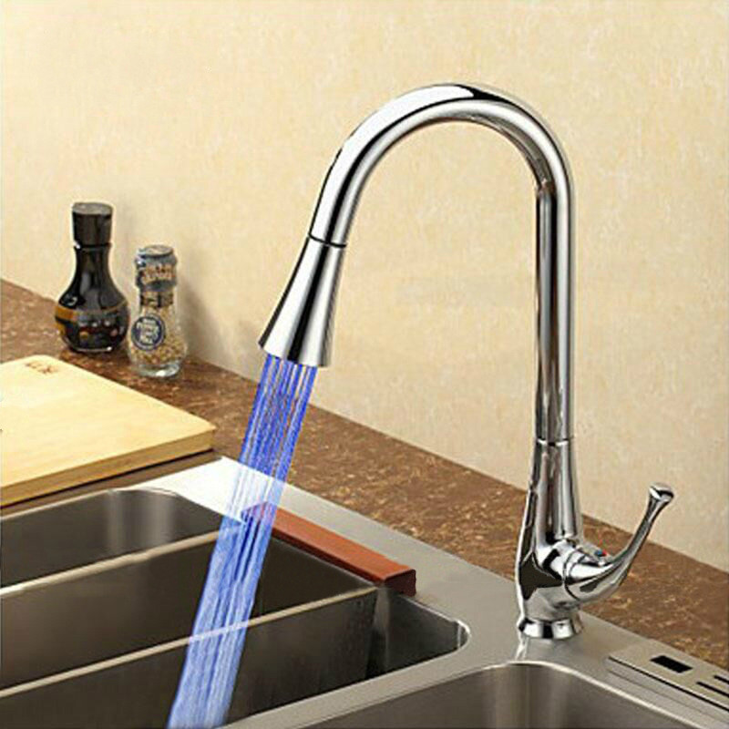 Mrosaa Rotatable LED Bathroom Kitchen Faucet Copper Temperature Control Hot & Cold Water Mixer Sink Ceramic Head Pull Down Tap