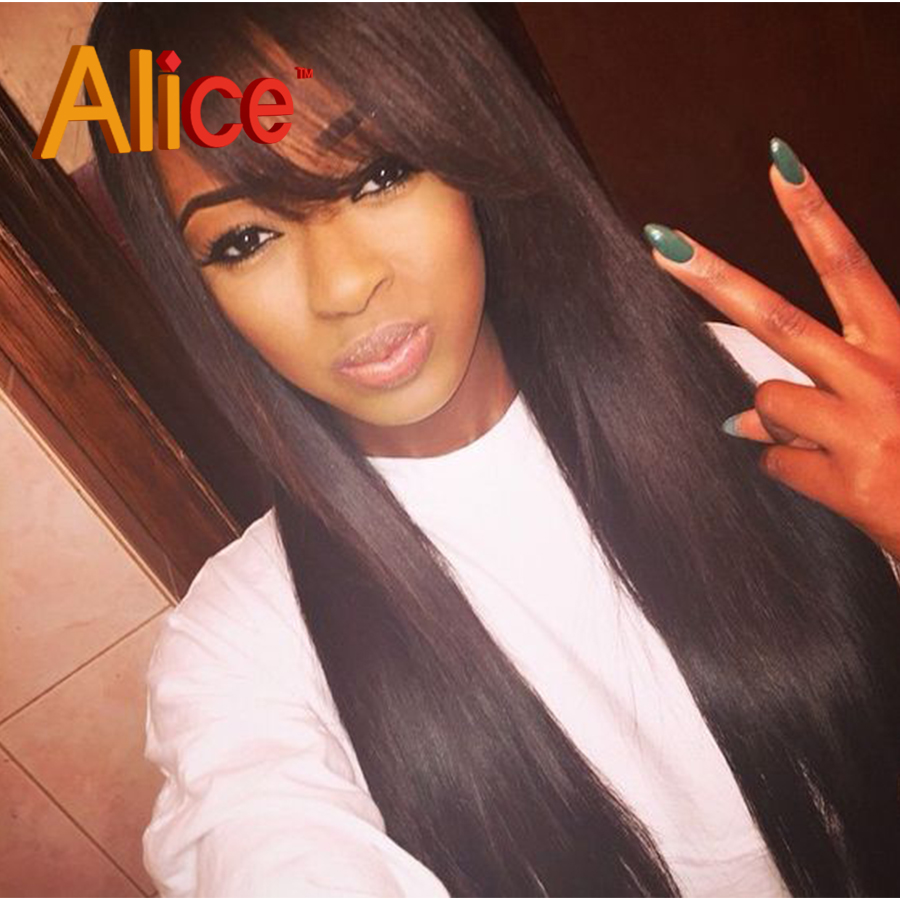 9A Sliky Straight Hair With Bangs 100 Human Hair Lace Front Wig With Baby Hair Full -8195