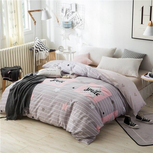 Light Grey Striped Letter Pattern Bedding 100 Cotton Soft Duvet Cover Full Queen Size Quilt