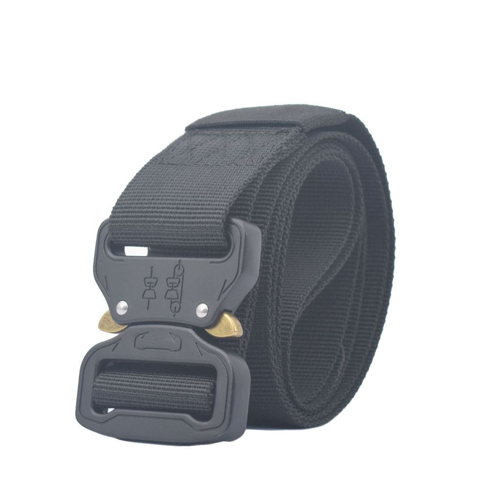 Men Belt Nylon Tactical Belt For Trousers Metal Buckle Canvas Belts Outdoor Training Black Military Waist Belt 3.8CM Width #L20(China)