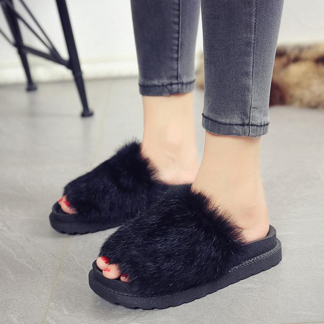 HEE GRAND Fur Slippers Platform Beach Sandals 2016 Creepers Autumn Winter Flip Flops Casual Flats Slip On Shoes Woman