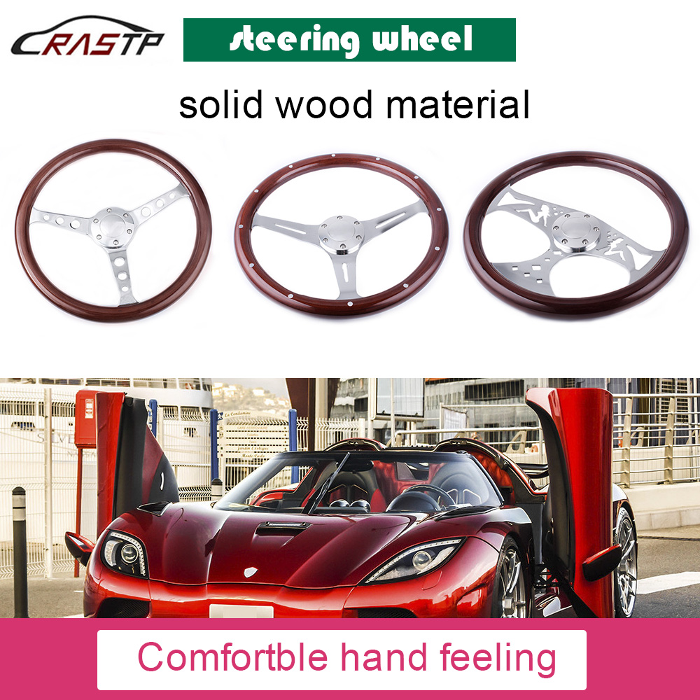 RASTP 380mm 15 Inch Grant Classic Nostalgia Style Wood Grain Steering Wheel with Horn Kit For Ford Mustang Hot Rod for Classic Car