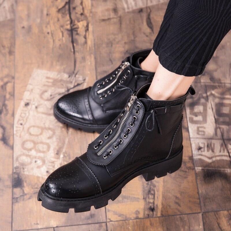 Bottes Cuir Pour En Supérieure Décontracté À Britannique Qualité Homme Lacets Noir Mode Inlike Bottines Chaussures Hommes CdorxeQWB