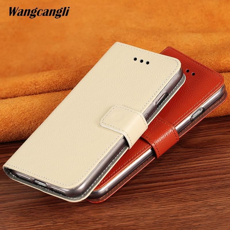 Wangcangli peau de vache litchi veines téléphone étui pour iphone 7 fait à la main véritable tourner l'étui en cuir coque de téléphone housse de protection