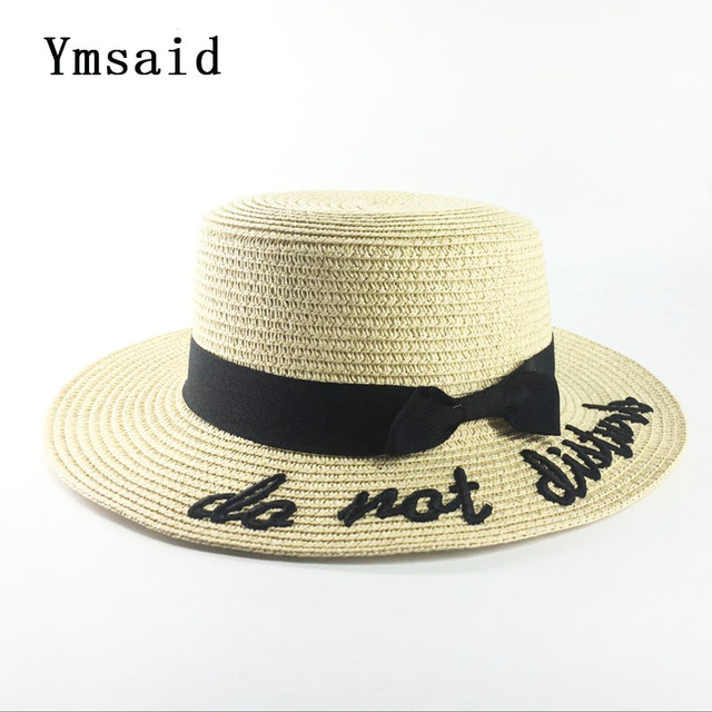 cbd770a7328 Ymsaid Korea Style Embroidery Letter Boater Hat Summer Ribbon Round Bow  Flat Top Wide Brim Straw