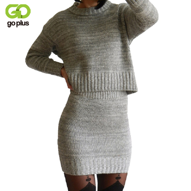 GOPLUS 2016 Winter 2 Pieces Sweater Dress Set Women Long Sleeve Office Wear Casual Gray  Pullover Knitted Dresses Clothing Suit