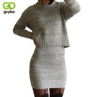 New 2016 Winter 2 Pieces Sweater Dress Set Women Long Sleeve Office Wear Casual Gray Red