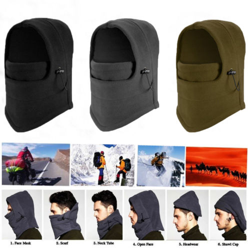 6 In 1 Men's Winter Fleece Thermal Balaclava Ski Snood Hood Neck Warmer Hat   Skullies     Beanies