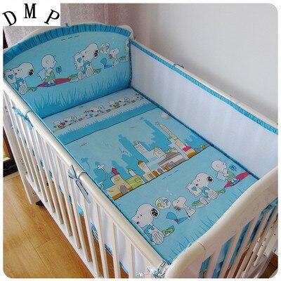 Promotion! 5PCS Mesh Cotton Crib Bedding Bumper Newborn Baby Bedding Set Cartoon Crib Bumpers,include(4bumpers+sheet)