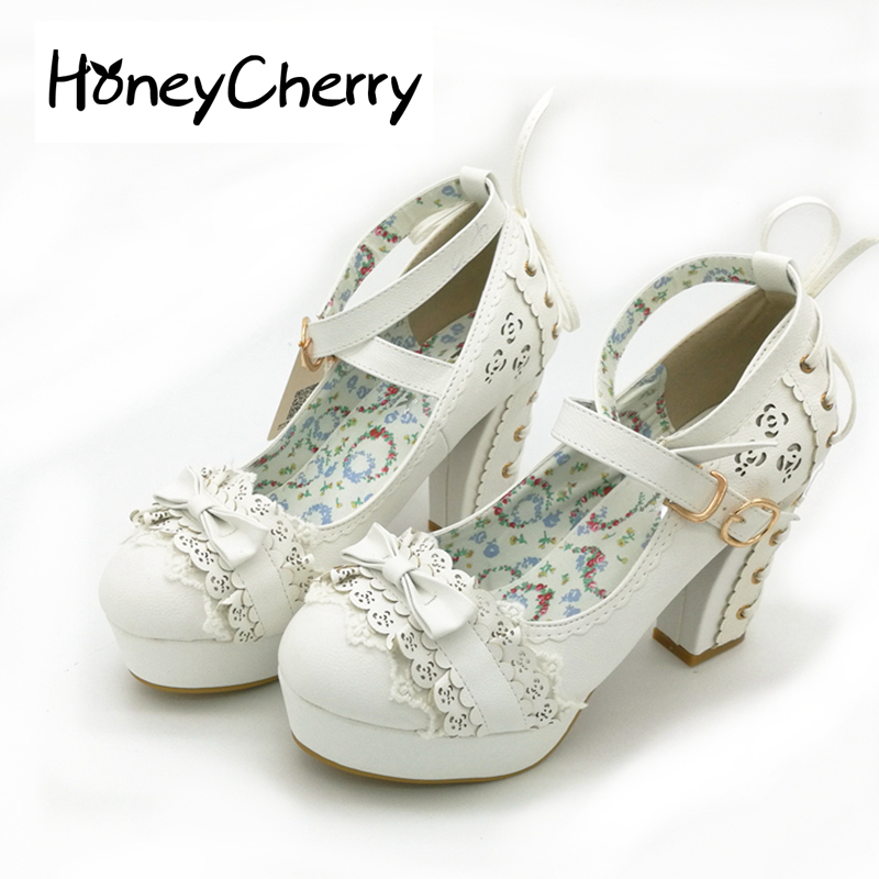 Sweet High Heels Lolita Shoes Japanese Princess Lace Bow Tie Single Women s Heel Waterproof Table