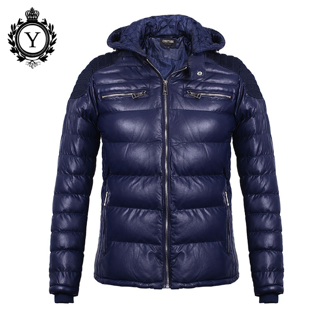 COUTUDI Estilo Moda masculina Coats 2016 Inverno Quente Grosso PU Homens jaqueta Plus Size Parka Masculina Jaquetas Da Marca À Prova D' Água casaco