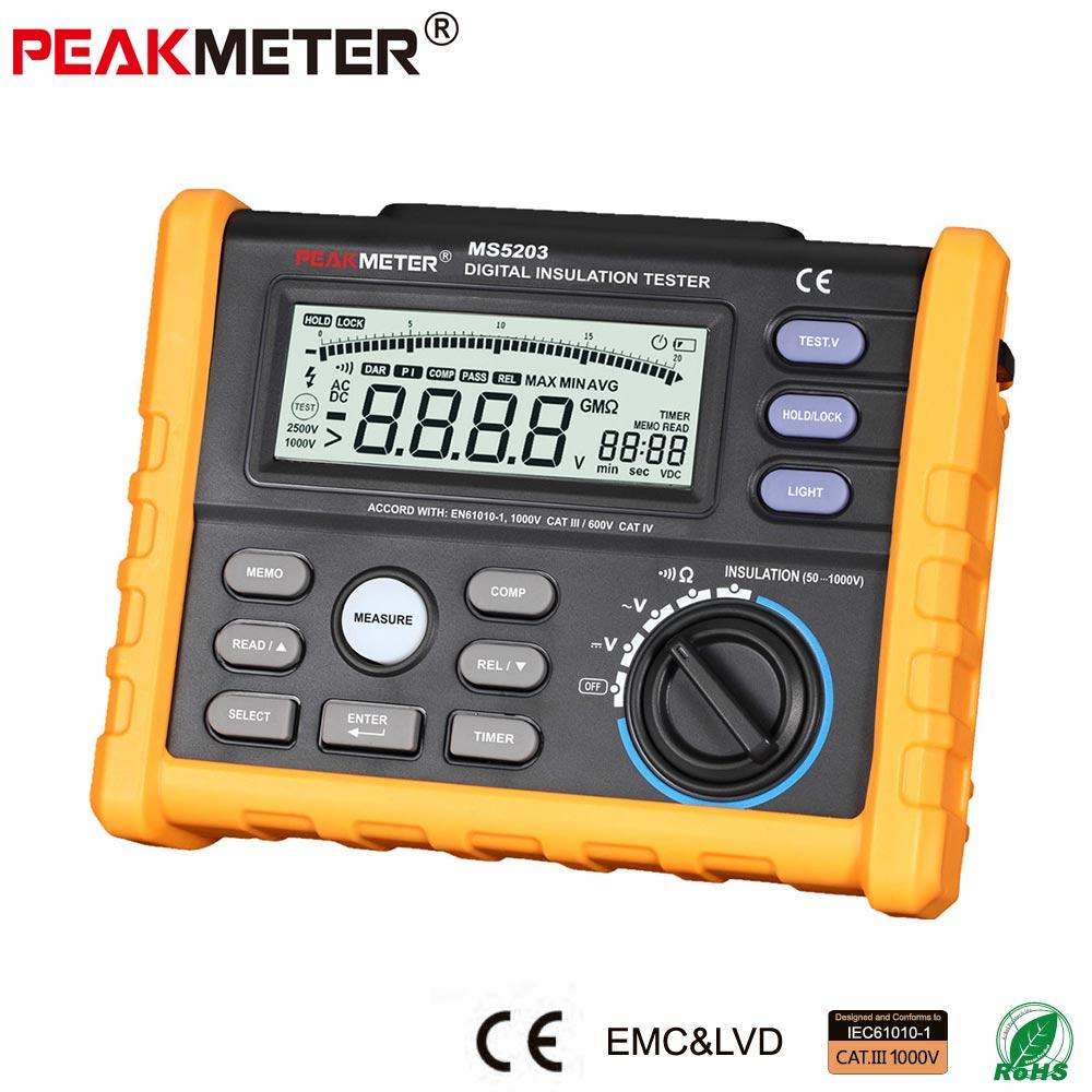 OFFCIAL PEAKMETER Analógicos e Digitais 1000 V Resistência de Isolamento Tester megger medidor 0.01 ~ 10 MS5203 G Ohm com Multímetro