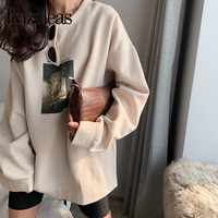 Bazaleas 2019 Loose harajuku Sweatshirt Streetwear Picture Print women hoodies Fashion oversized hoodie Casual Boyfriend Shirt