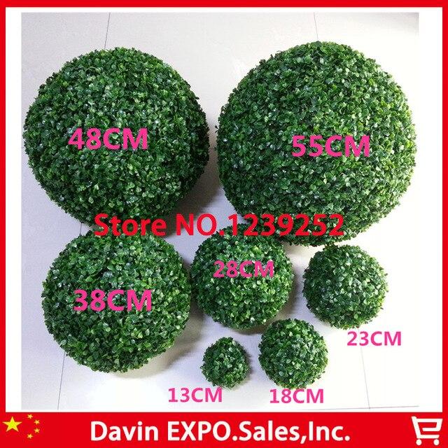 Yoshiko 48 CM boules de fleurs topiaires d'herbe artificielle dehors/boule accrochante d'intérieur pour la décoration de jardin de cour de maison de noce
