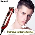 Kemei 110-240 v titanium profesional hoja clipper recargable trimmer de pelo de peluquería máquina de corte para adultos baby hair styling