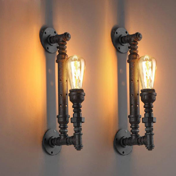 Retro Loft Vintage Industrial Lustre Iron Water Pipe Edison Wall Sconce Lamp Bathroom Beside Bedroom Home Decor Modern Lighting  free shipping brass finished e27 industrial edison wall lamp antique copper vintage beside lighting ac90 250v for bedroom